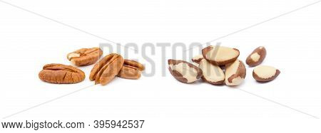 Para Nuts And Pecan Nuts  Isolated On A White Background