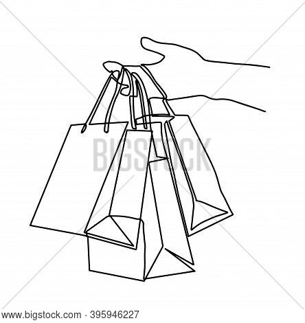 Concept Of Shopping. One Line Drawing Isolated Vector Object, Girl Holding Bag. Holiday Shopping.one