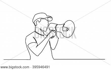 Continuous One Line Drawn A Man Talking Into A Loudspeaker. A Male Spoke Excitedly While Holding The
