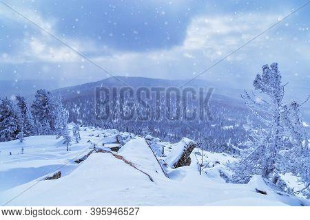 Sheregesh Ski Resort In Russia, Located In Mountain Shoriya, Siberia. Winter Landscape, Trees In Sno