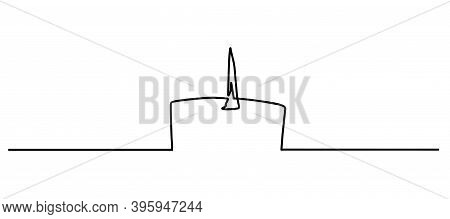 Burning Wax Candle Continuous Line Drawing, Tattoo, Print For Clothes And Logo Design, Silhouette Si