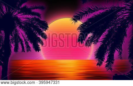 3d Sunset On The Beach. Retro Palms Vector Sci Fi Background With Ocean. Sun Reflection In Water. Fu
