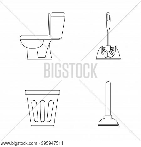Toilet Icon. Restroom. Wc, Bathroom In Outline. Toilet Brush, Plunger And Trash Can. Plumbing Servic