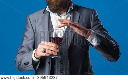 Red Wine. Man In Suit Drinks Wine. Alcohol. Wine. Glass Of Wine. Man With Bordeaux. Tasting Alcohol.