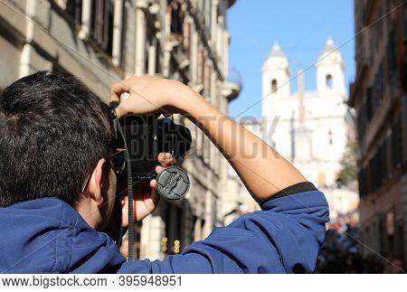Photographer Taking A Souvenir Photo At The Church Of Trinita Dei Monti In Rome Capital Of Italy