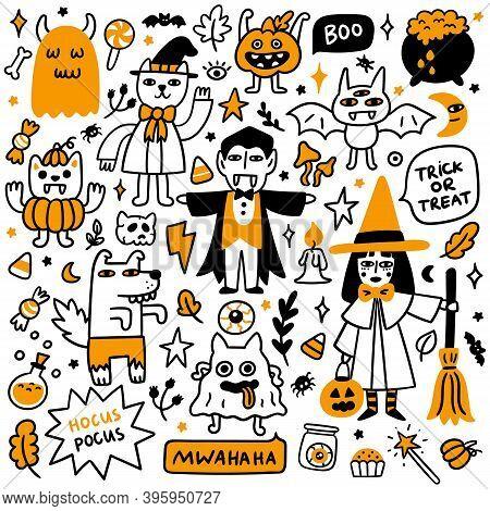 Happy Halloween Set Of 9 Spooky Cartoon Characters (witch, Ghosts, Cat Wizard, Bat, Zombie Werewolf,