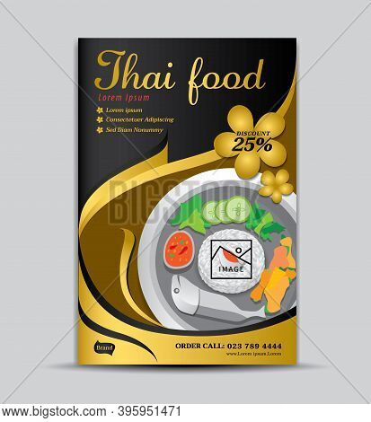 Thai food flyer template, poster design, food menu cover, label, banner, tag, cover, magazine ads, gold background, Business cover design, brochure cover, gold background, gold texture, food poster, book cover, vector illustration