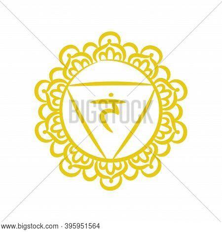 Manipura Sketch Icon. The Third Sun Chakra. Vector Yellow Line Symbol. Sacral Sign. Meditation