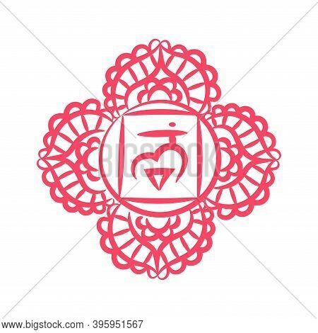 Chakras: Muladhara, Swadhisthana, Manipura, Anahata, Vishuddha, Ajna, Sahasrara. Vector Line Symbol.