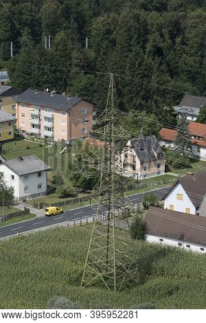 Energy Supply With A 380 Kv Power Line And Power Pole In The City