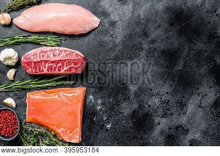 Raw Steaks. Beef Top Blade, Salmon Fillet And Turkey Breast. Organic Fish, Poultry And Beef Meat. Bl