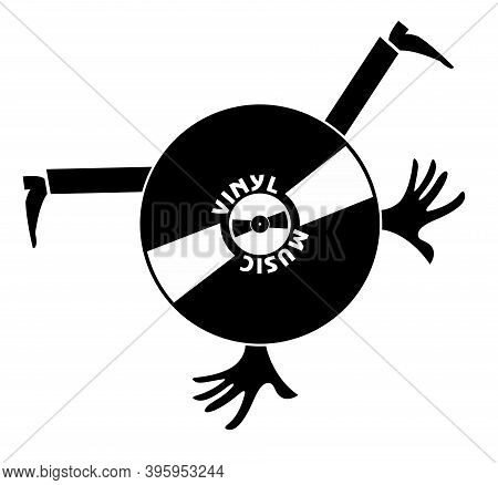 Original Vinyl Record Icon. Funny Vinyl Record With Hands And Legs Black On White Illustration