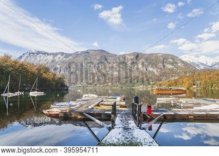 Berth With Boats On Lake Bohinj In Slovenia
