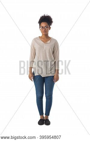 Full Length Portrait Of African American Mixed Race Woman Isolated On White Background, Casual Peopl