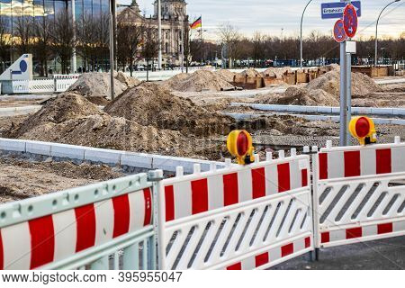 Street Repairs In The City, Large Piles Of Earth