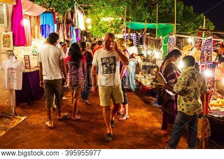 Goa, India - February 22, 2014: Arpora Night Market In Goa, India