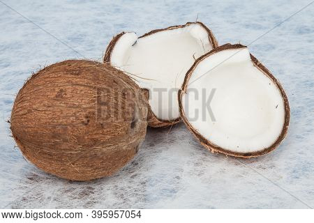 Coconut Tropical Fruit (cocos Nucifera); Photo On A Neutral Background.