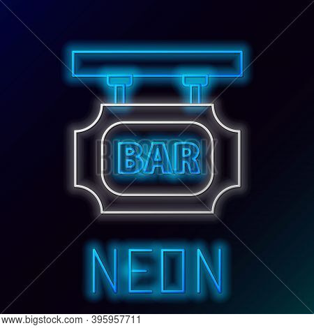 Glowing Neon Line Street Signboard With Inscription Bar Icon Isolated On Black Background. Suitable