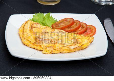 American Breakfast Food - Tasty Omelet Eggs Breakfast.