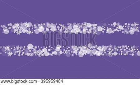 Xmas Theme Sales With Ultraviolet Snowflakes. New Year Backdrop. Snow Border For Gift Coupons, Vouch