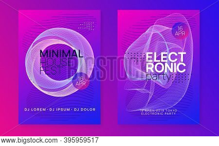 Music Poster. Bright Concert Invitation Set. Dynamic Gradient Shape And Line. Neon Music Poster. Ele