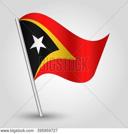 Vector Waving Simple Triangle Timorese Flag On Slanted Silver Pole - Symbol Of East Timor With Metal