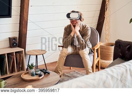 Man Listening His Interlocutor While Having Skype Or Zoom Chat