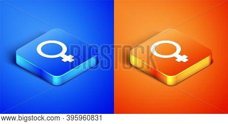 Isometric Female Gender Symbol Icon Isolated On Blue And Orange Background. Venus Symbol. The Symbol