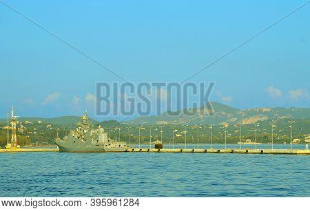 Corfu, Greece - October 01, 2017 : Eu Naval Force Flagship, Fs Siroco In Corfu Harbour