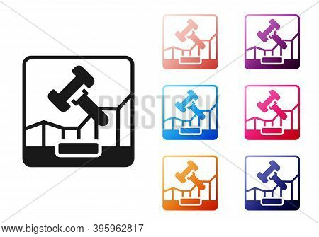 Black Online Internet Auction Icon Isolated On White Background. International Trade Concept. Invest