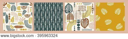 Artistic Seamless Patterns With Abstract Leaves And Geometric Shapes. Modern Vector Design