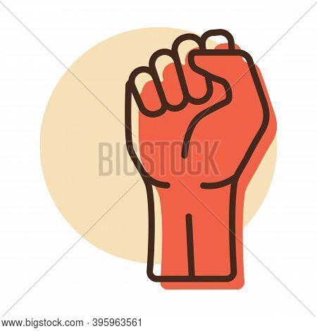 Fist Raised Up Vector Icon. Demonstration, Manifestation, Protest, Strike, Revolution