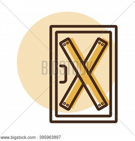 Boarded Up Door Vector Icon, Installing Boards On The Door To Prevent Unauthorized Access, Or Abando