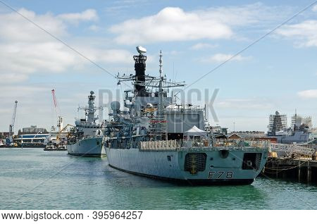 Portsmouth, Uk - September 8, 2020: The Royal Navy Frigates Hms Kent And Hms Westminster Moored Prow