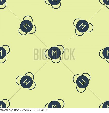 Blue Molecule Icon Isolated Seamless Pattern On Yellow Background. Structure Of Molecules In Chemist