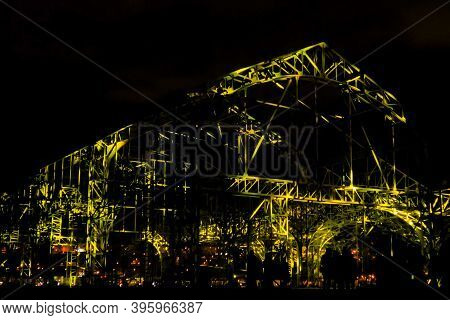 Visual, Digital And Contemporary Art, Sightseeing Concept. Colorful Light Video Mapping Multimedia S