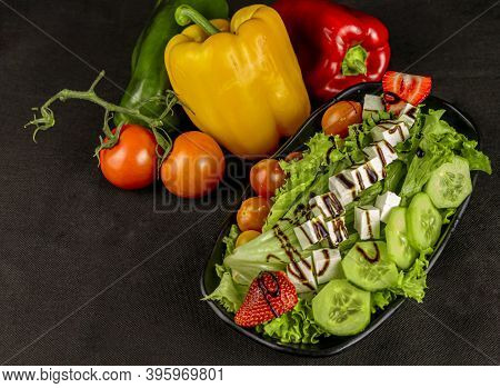 Food - Mixed Salad With Cheese And Strawberry