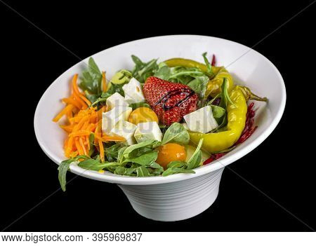 Food - Fresh Mixed Salad With Cheese And Strawberry