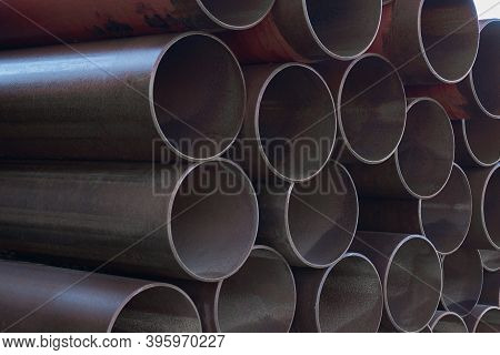Bunch Of Metal Pipes. Steel Water Pipes. Large Steel Pipes Close Up.