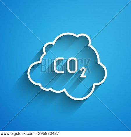White Line Co2 Emissions In Cloud Icon Isolated On Blue Background. Carbon Dioxide Formula, Smog Pol