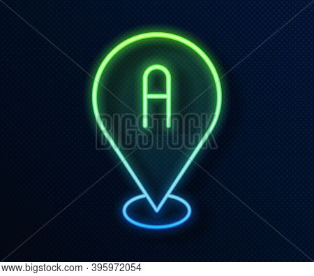 Glowing Neon Line Map Pin Icon Isolated On Blue Background. Navigation, Pointer, Location, Map, Gps,