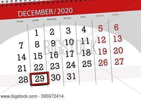 Calendar Planner For The Month December 2020, Deadline Day, 29, Tuesday