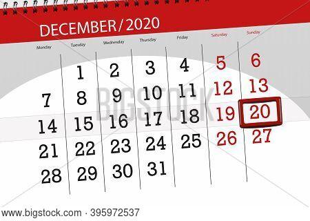 Calendar Planner For The Month December 2020, Deadline Day, 20, Sunday