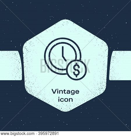 Grunge Line Time Is Money Icon Isolated On Blue Background. Money Is Time. Effective Time Management