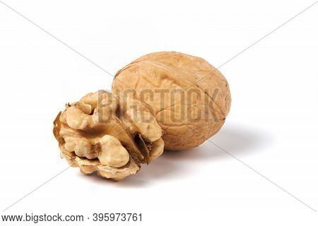Walnut Without Nutshell And Nutshell Walnut Isolated On White