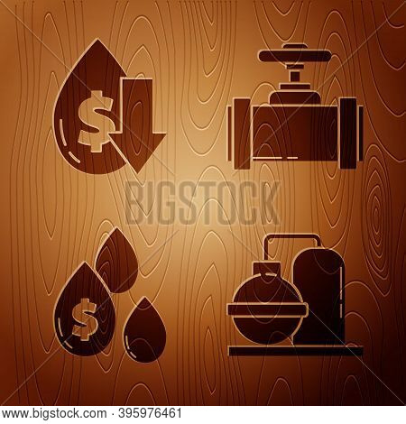 Set Oil And Gas Industrial Factory Building, Drop In Crude Oil Price, Oil Drop With Dollar Symbol An