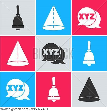Set Ringing Bell, Geometric Figure Cone And Xyz Coordinate System Icon. Vector