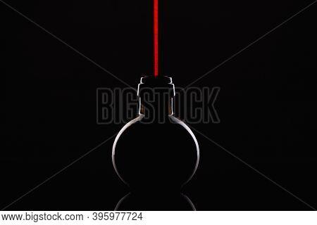 Empty Luxury Black Glass On The Black Background
