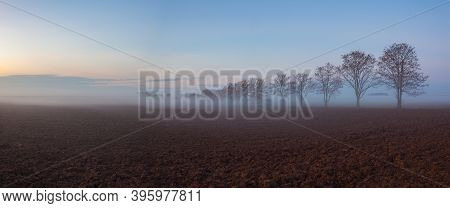 Landscape Covered With Fog In Central Bohemian Uplands, Czech Republic. Misty Morning Between Fields