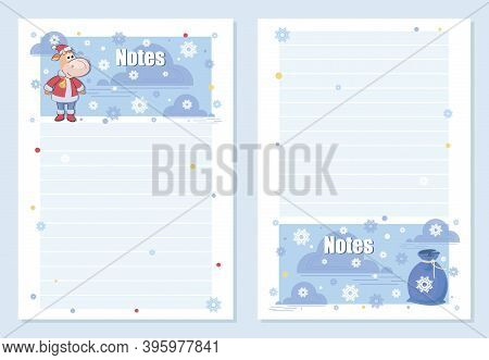 Calf. Note Pages. Vector Background, Template. Set. Bull. Funny Character Santa Claus And Gift Bag.